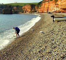 Paddling at Ladram Bay by Charmiene Maxwell-Batten