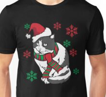 Christmas Cat Kitty Holiday Xmas Snowflake Santa Claus Hat Scarf Hipster Tacky Funny Cute Ugly Christmas Sweater Gift Unisex T-Shirt