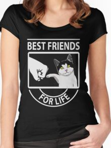 Cat best friends for life xmas shirt Women's Fitted Scoop T-Shirt