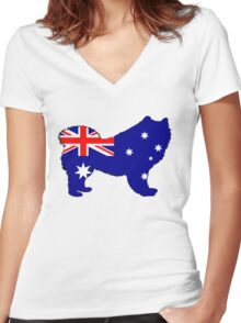 Australian Flag - Samoyed Women's Fitted V-Neck T-Shirt