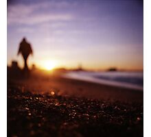 Man walking on beach at sunset square color analogue medium format film Hasselblad photograph Photographic Print