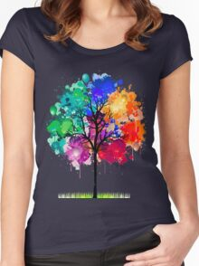tree abstract Women's Fitted Scoop T-Shirt