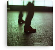 Surrealist photo of legs walking without bodies square color analogue medium format film Hasselblad photo Canvas Print