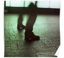 Surrealist photo of legs walking without bodies square color analogue medium format film Hasselblad photo Poster
