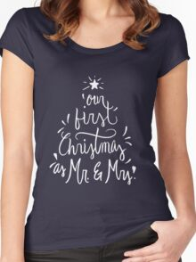 Our First Christmas as Mr. & Mrs. Just Married Women's Fitted Scoop T-Shirt