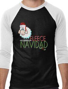 Funny Christmas Fleece Navidad Santa Hat Sheep Lamb Geek Cute Cartoon Spanish Latino Latina Holiday Ewe Xmas Men's Baseball ¾ T-Shirt