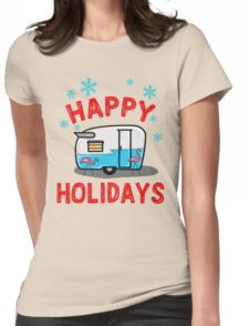 happy holidays - retro blue camper Womens Fitted T-Shirt