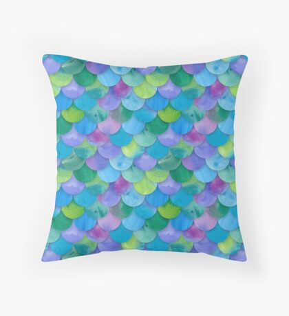 Mermaid Seamless Scale Pattern Throw Pillow