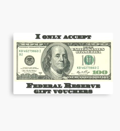 Federal Reserve Gift Vouchers Canvas Print