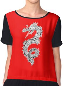 Dragon, Snake, Tattoo, Symbol, Chinese, Oriental, Far East, on Black Chiffon Top