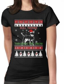 Merry Christmas - Bull Terrier Through The Snow Womens Fitted T-Shirt