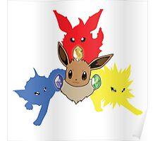 Three Eevee Evolutions Poster