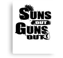 Sun Out Gun Out Funny Quotes Political Politics Police Gift Shirt Canvas Print
