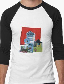 Red Squared Building Men's Baseball ¾ T-Shirt