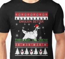 Merry Christmas - English Setter Through The Snow Unisex T-Shirt