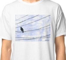 Bird on wire crow blue sky minimalist Classic T-Shirt
