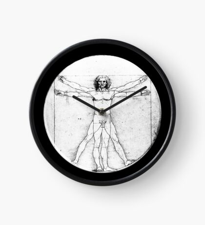 LEONARDO, Da Vinci, The Vitruvian Man, Naked, CIRCLE, c.1485, Accademia, Venice, BLACK Clock