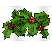 Christmas Holly Art Poster