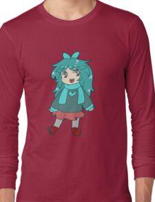 Chibi Blue-Green Girl Long Sleeve T-Shirt