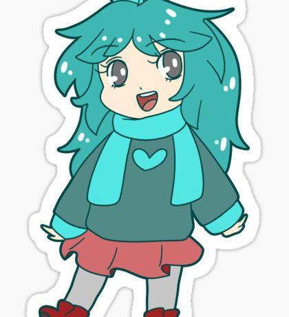 Chibi Blue-Green Girl Sticker