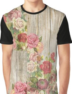 Shabby Chic Multi Coloured Rose Roses Graphic T-Shirt
