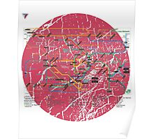 Tokyo Metro Map Japanese City Urban Style T-Shirt by Cyrca Originals Poster