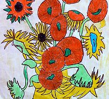 Tribute to Van Gogh Sunflowers by Jane Ianniello