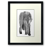 Wild Forest Wolf - Black and White Framed Print