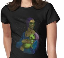 Lady Alien with her Pet Womens Fitted T-Shirt