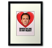 Nicolas Cage - You Open the Cage to My Heart Framed Print