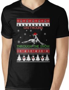 Merry Christmas - Greyhound Through The Snow Mens V-Neck T-Shirt