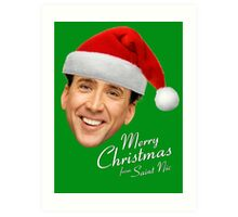 Merry Christmas from St Nic-olas Cage Art Print