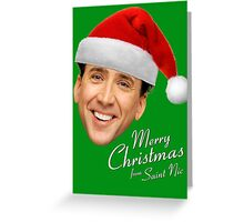 Merry Christmas from St Nic-olas Cage Greeting Card