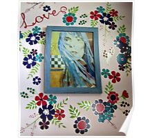 Joni On The Wall With Flowers Poster