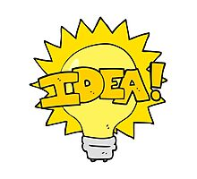 cartoon idea light bulb symbol Photographic Print