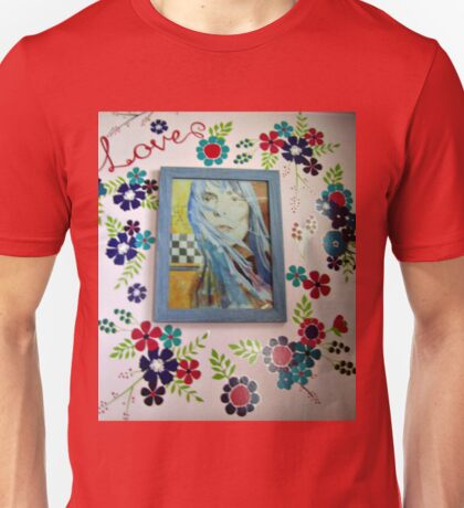 Joni On The Wall With Flowers Unisex T-Shirt