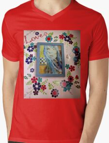 Joni On The Wall With Flowers Mens V-Neck T-Shirt