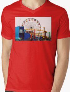 Ferris Wheel at Santa Monica Pier California Mens V-Neck T-Shirt
