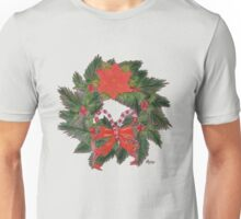 Evergreen Wreath with Candy Canes Unisex T-Shirt