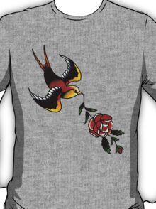 Sparrow Rose tattoo design T-Shirt