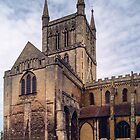 Tower and crossing from south Pershore Abbey Pershore England 198405140041  by Fred Mitchell