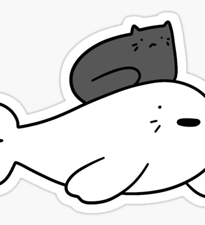 Black Cat and Baby Harp Seal Sticker