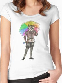 Steampunk Cat with Rainbow Umbrella  Women's Fitted Scoop T-Shirt