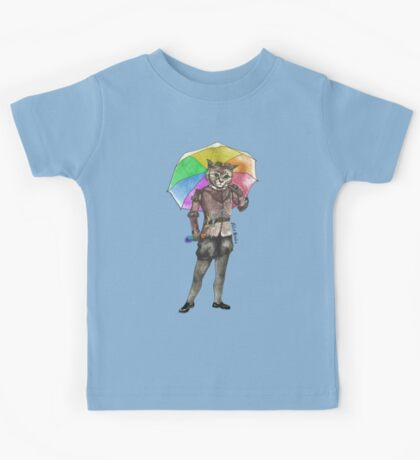 Steampunk Cat with Rainbow Umbrella  Kids Tee