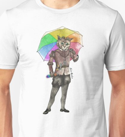 Steampunk Cat with Rainbow Umbrella  Unisex T-Shirt