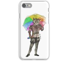 Steampunk Cat with Rainbow Umbrella  iPhone Case/Skin