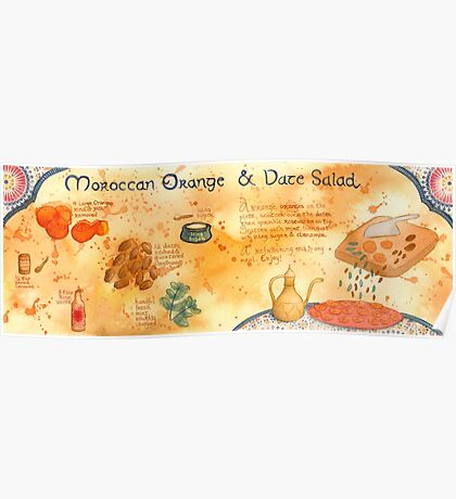 Illustrated Moroccan Orange Salad Recipe Poster