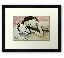 girl and pup Framed Print