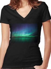 Beautiful northern lights Women's Fitted V-Neck T-Shirt