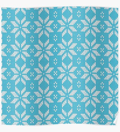 Knitted Snowflake Light Blue Poster